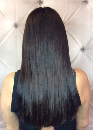 salon hair extensions back view